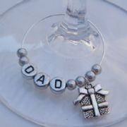 Christmas Present Personalised Wine Glass Charm